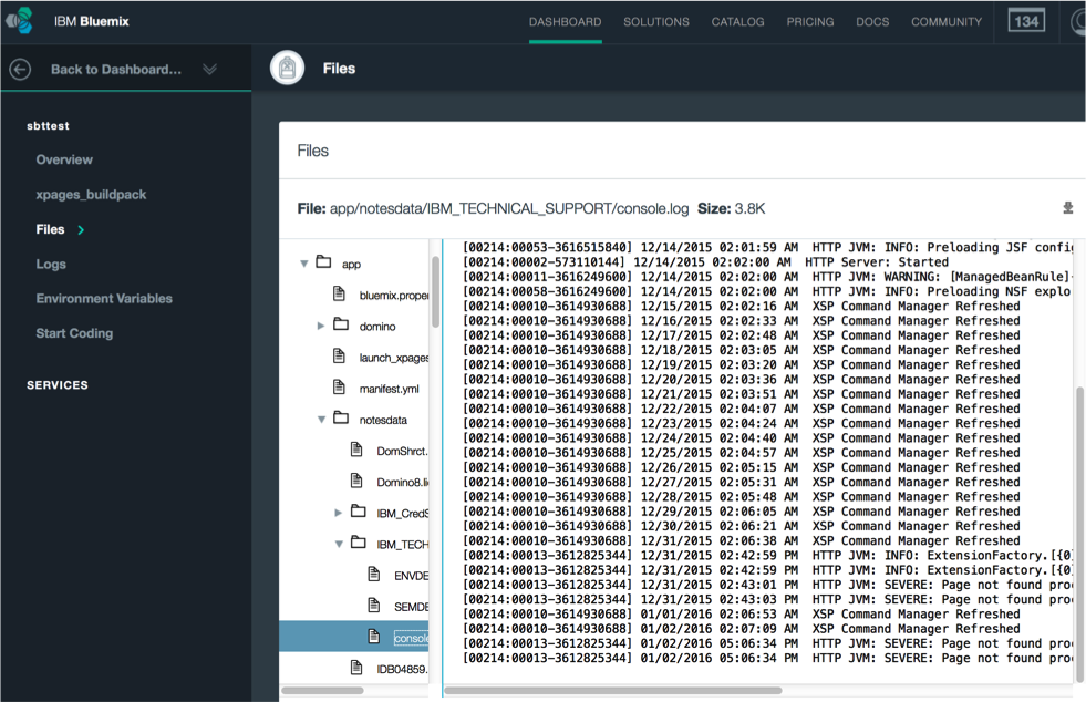 IBM XPages for Bluemix Logs